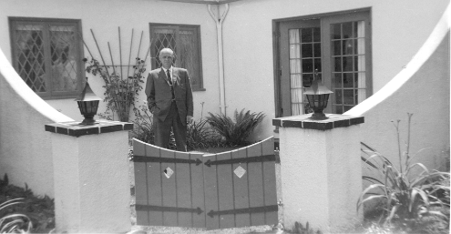 Dad in our courtyard garden