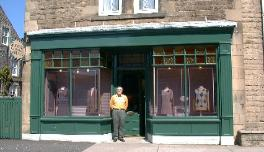 Paul outside his shop, GlenEvan Mills, Innerleithen, Scotland